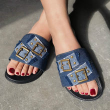 New Summer Craft Denim Flat Casual Female Slippers with Buckle 2020 Women Shoes Lightweight Breathable Woman Slides Wholesale(China)