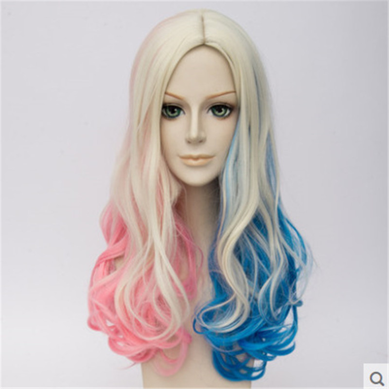 Harley Quinn Wig Birds of Prey Harley Quinn Cosplay Colorful Gradient Ponytail