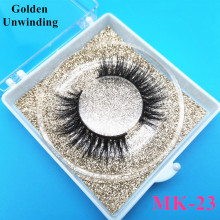 Golden Unwinding MK-23 wholesale siberian mink eyelashes with custom box soft mink 5d hair lashes packaging mink lash vendors