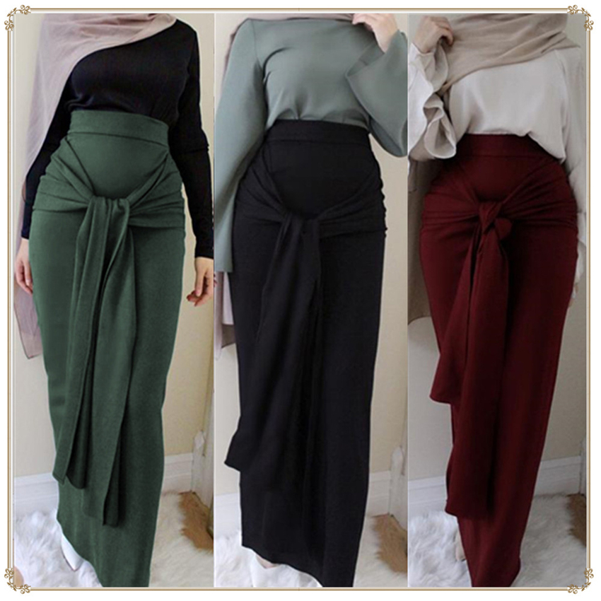 Female Elegant Muslim Hight Waist Skirt Ankle Length Cotton Solid Long Pencil Skirts Islamic Woman Casual Ramadan Bodycon Maxi