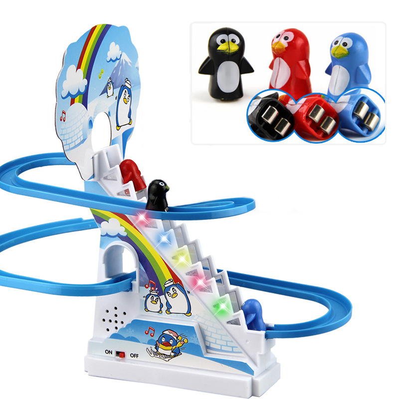 Plastic Gift With Musical Toys Puzzle Penguin Slide Electric Railcar With Music Intellectual Development