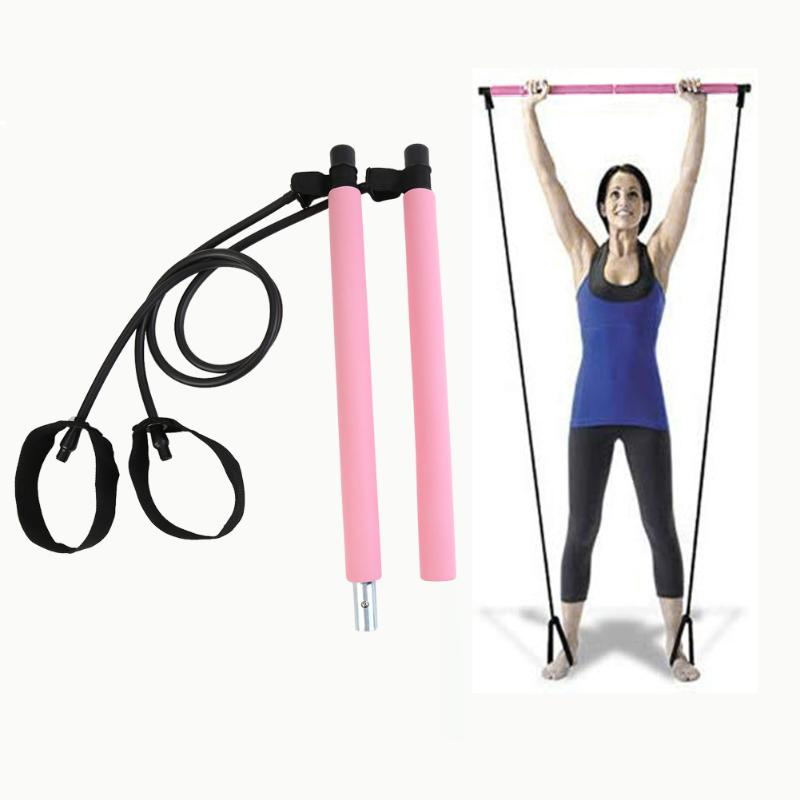 Gym Portable Pilates Bar Stick Elaborate Manufacture Prolonged Durable With Resistance Band For Home Fitness Workout