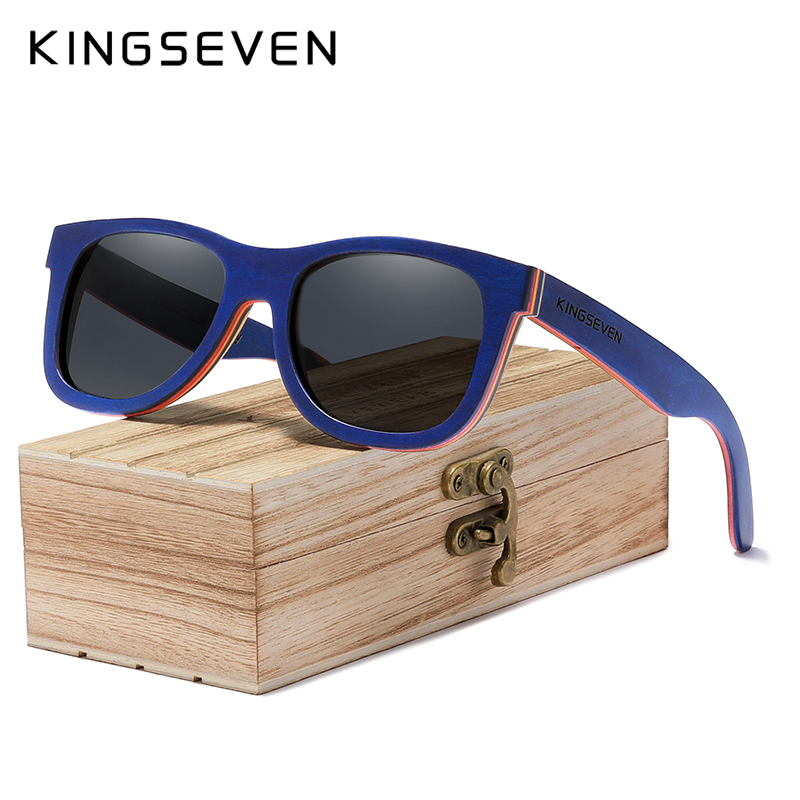 KINGSEVEN 2020 Brand Designer Wood Sunglasses New Men Polarized Blue Wood SunGlasses With Original Box Retro Vintage Eyewear