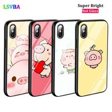 Black Cover Cartoon Cute Pig for iPhone X XR XS Max for iPhone 8 7 6 6S Plus 5S 5 SE Super Bright Glossy Phone Case black cover japanese samurai for iphone x xr xs max for iphone 8 7 6 6s plus 5s 5 se super bright glossy phone case