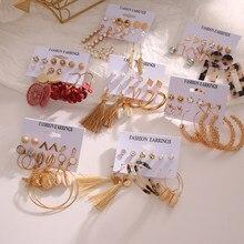 2020 pérola do vintage gota de resina brinco conjunto para as mulheres moda borla concha pérola pingente brinco jóias atacado