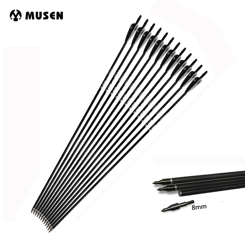 28/30/32 Inches Mixed Carbon Arrow Spine 500 Black And White Feather 6/12/24Pcs For Recurve/Compound Bow Archery Hunting