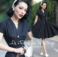 Le Palais Vintage Black V Neck Summer Dress Women Solid Vintage Hepburn 50s Dresses Elegant Party Swing Sundress Vestidos