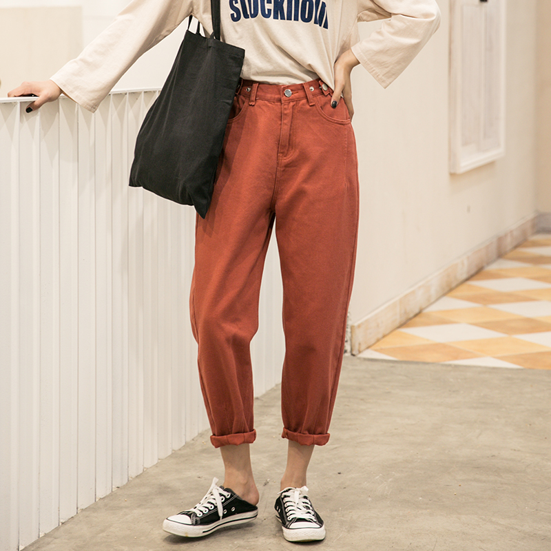 Mom Loose Jeans Woman 2020 Candy Color Harem Boyfriends Jeans For Women Vintage Boyfriends Women's Oversized Jeans Harem Pants
