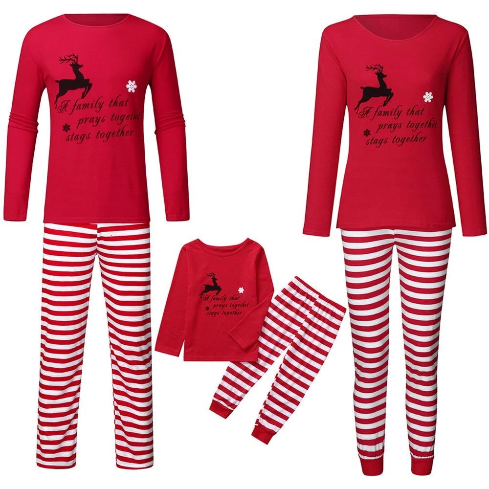 Family Matching Christmas Pyjamas Adult Kids Stripe Xmas Nightwear Sleepwear PJs