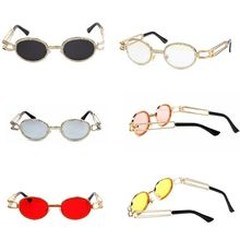 Unisex Vintage Flat Frame Sunglasses Small Oval Hand Point Rhinestones Fashion Steampunk Colorful Glasses