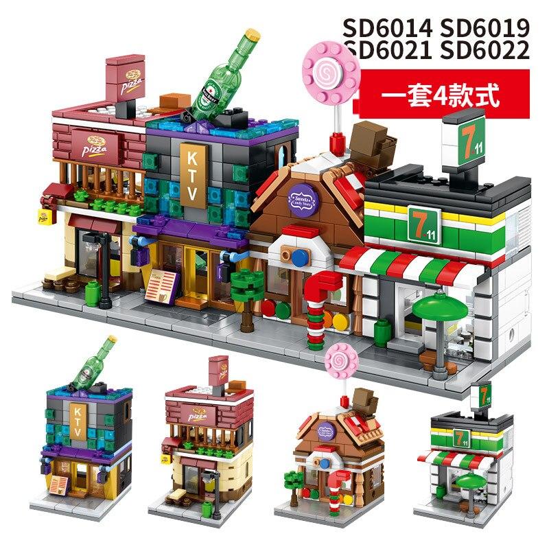 4 set LOZ Nano Blocks Mini Street Building Block Cute Cartoon Architecture Toys