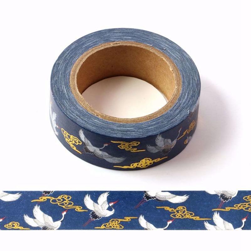 10pcs/lot Red-crowned Crane Foil Washi Tapes DIY Lipstick Decoration Scrapbook Planner Adhesive Masking Tapes Kawaii Stationery