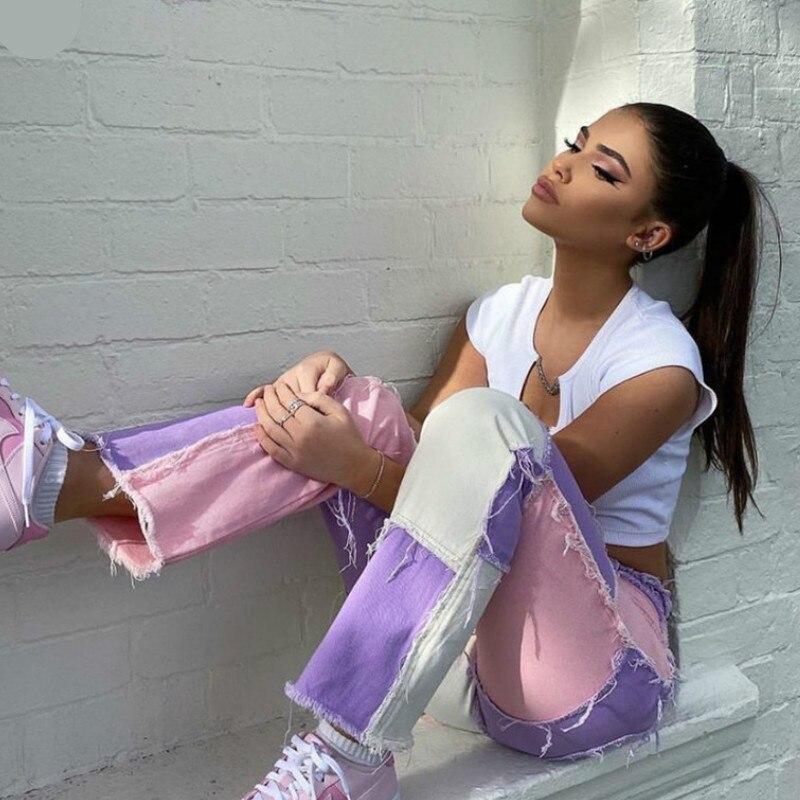 Женские K-POP джинсы с бахромой, прямые брюки в стиле пэчворк, с высокой талией, уличная одежда, повседневные женские штаны, XS-XXL