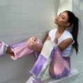 Женские K-POP джинсы с бахромой прямые брюки Y2K стиль пэчворк цвет Высокая талия Уличная Повседневная Женская Брюки XS-XXL
