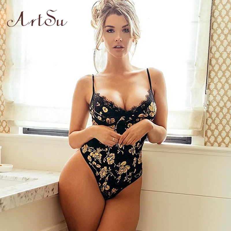 ArtSu Gold Floral Lace Bodysuits 2019 New Sexy Spaghetti Strap Catsuit Teddy Sleeveless V Neck Patchwork Mesh Jumpsuit ASJU60356