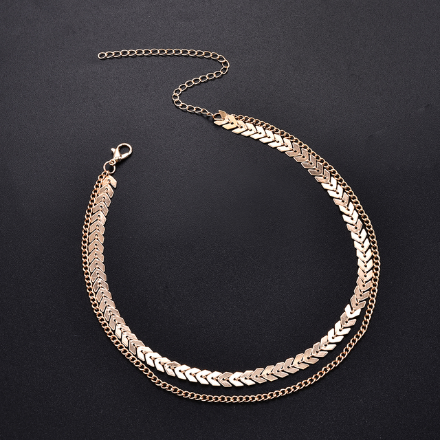 Fashion Women Lady Elegant V Sequins Chain Necklace Bib Party Double Layer Necklace Jewelry Choker Necklace 3