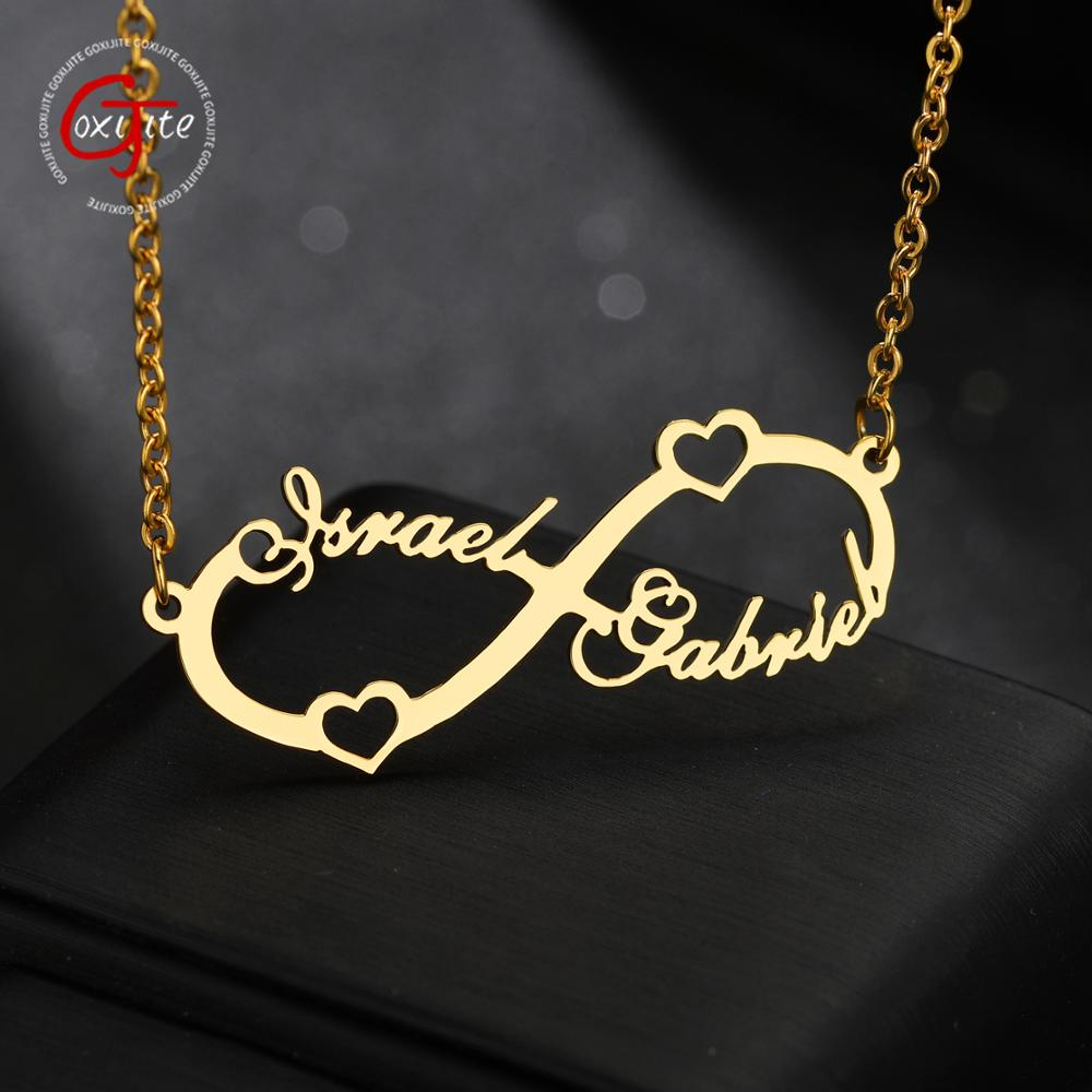 Goxijite Customize Infinite Name Layer Necklace For Women Personalized Gold Stainless Steel Custom Name Jewelry Friend Gift