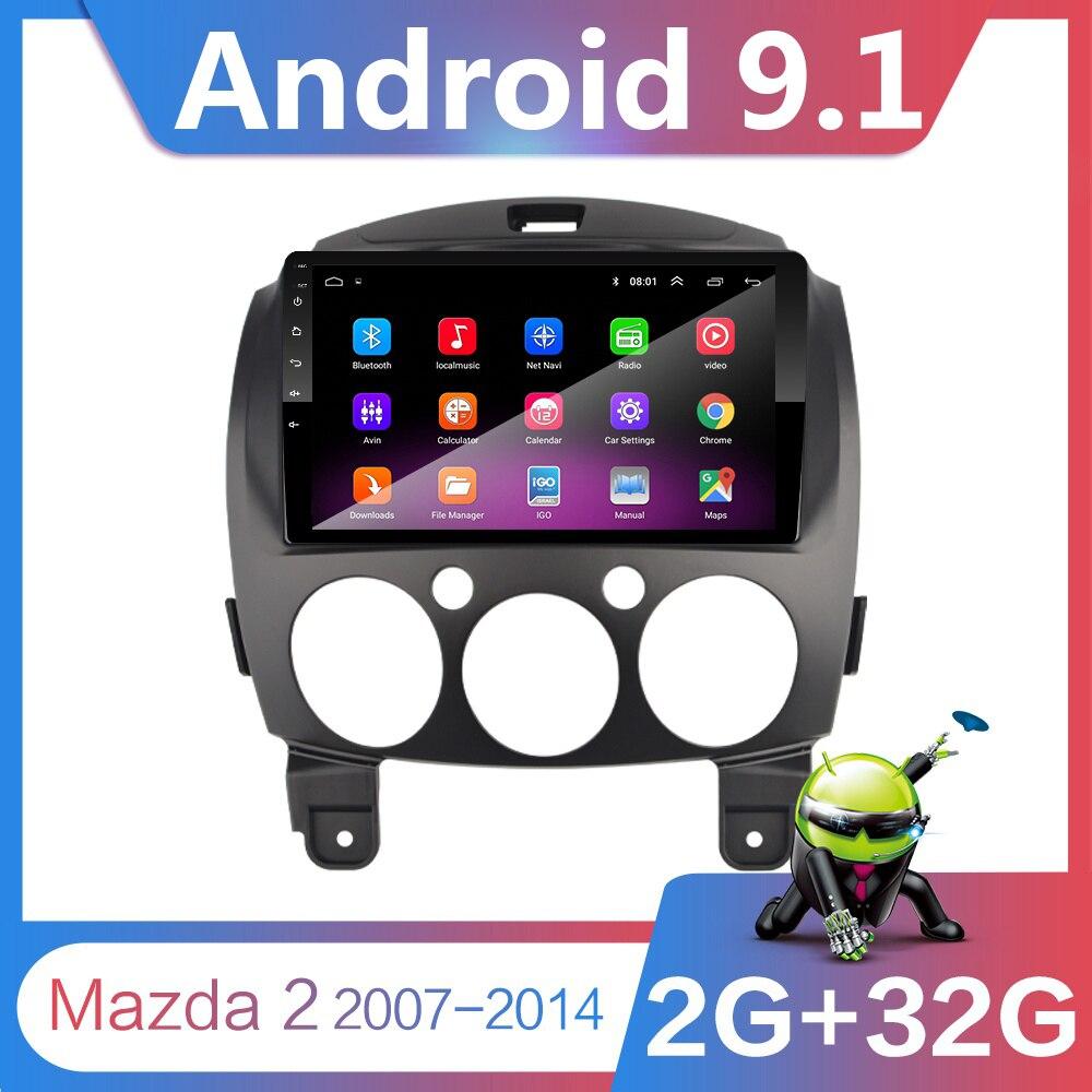 9 pouces Android 9.1 2 Din Dvd voiture lecteur vidéo multimédia pour Mazda 2 2007-2014 2din Autoradio GPS Navigation stéréo Radio Wifi