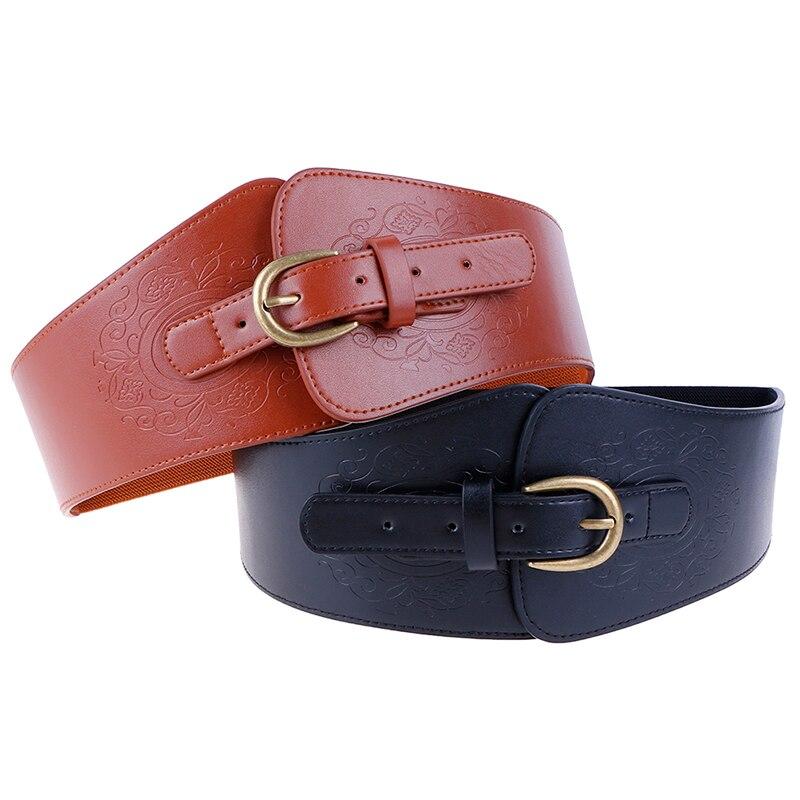 Womens Super Wide Faux Leather Waist Belt Stretch Elastic Corset Waistband
