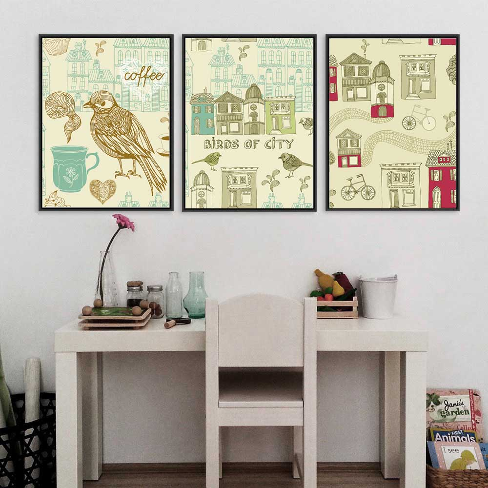 Retro Flower Bird Coffee Cup Houses Street Bicycles Posters and Prints Wall Art Canvas Painting Wall Pictures for Living Room