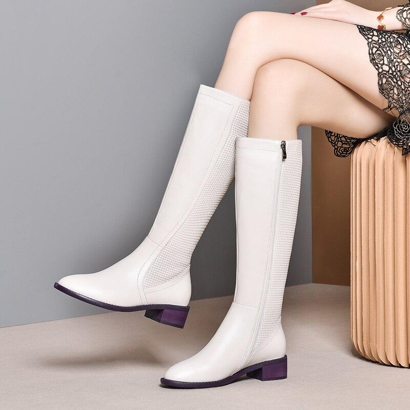 Женские зимние ботинки; ботильоны из натуральной кожи; сезон зима весна; ботинки на толстом каблуке; женские высокие ботинки; коллекция 2020 г