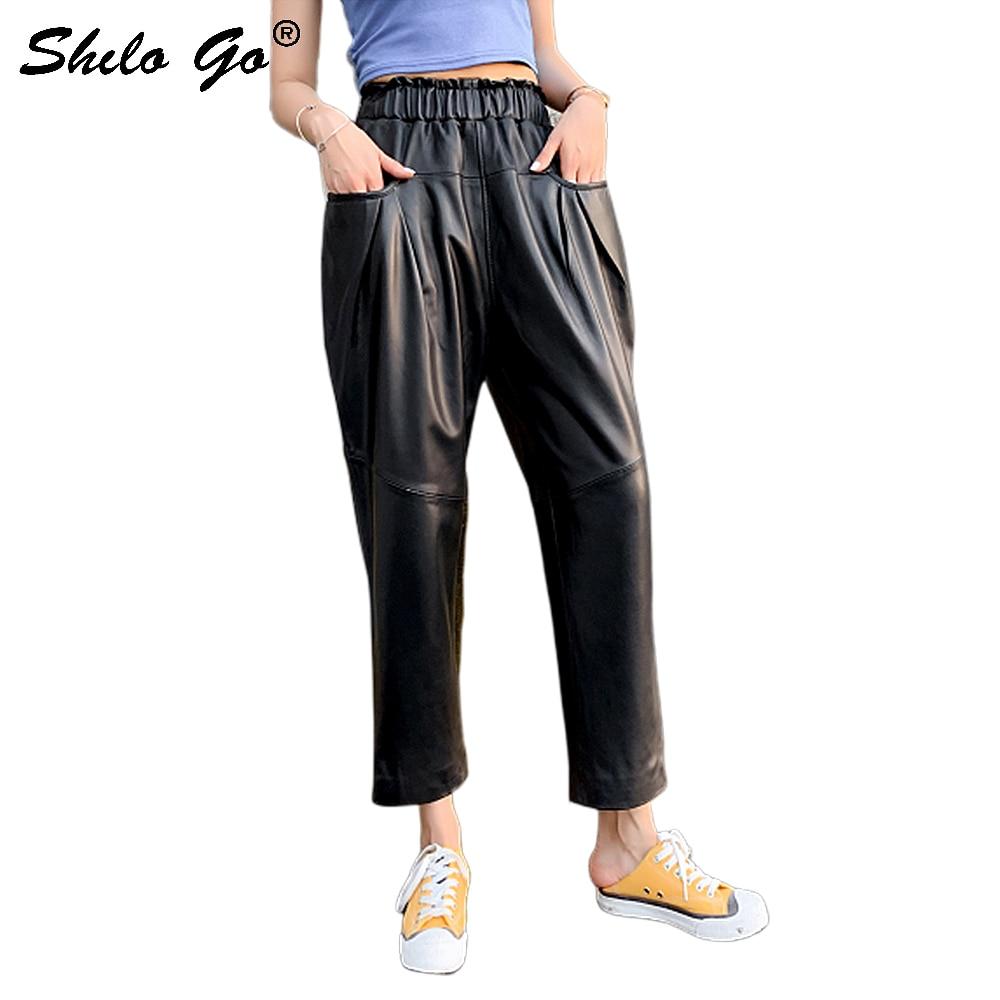 Genuine Leather Pants Plus Size Black Pocket Side Solid Harem Pants 2019 Women Casual Autumn Elastic High Waist Basics Trousers