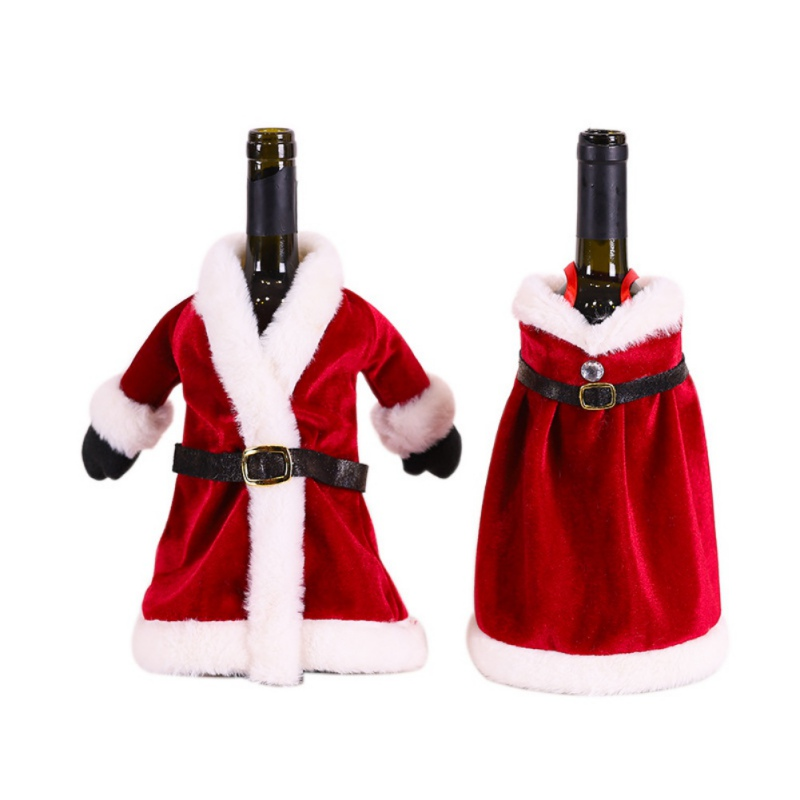 Christmas Wine Bottle Cover Red Dress Skirt Wine Bag Merry Christmas Decorations for Home Table New Year 2021 Navidad Gifts