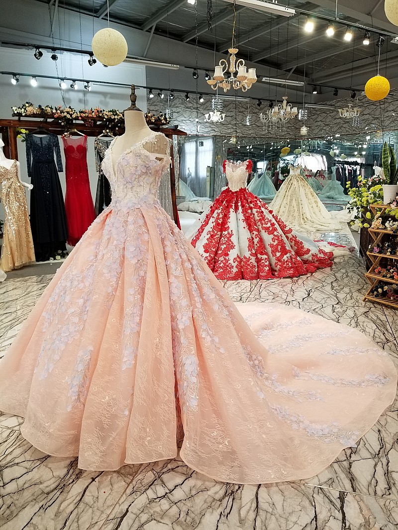 Image 3 - BGW 3229ht Pink Evening Dress 2020 With Light Purple Flowers Big O neck Sexy Spaghetti Strap Ball Gown Party Dress Free ShippingEvening Dresses   -