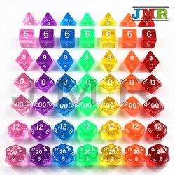 Высокое качество 7 шт./компл. Прозрачные Цифровые многогранные богатые цветные кости, набор D4 D6 D8 D10 % D12 D20 для Dnd Rpg кубик для настольной игры