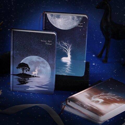 a5 criativo luminoso estrelado noite sonho caderno ilustracao sonho diario capa dura planejador livro de