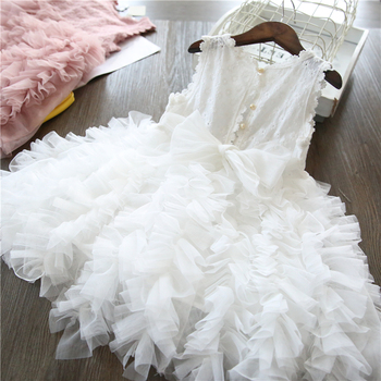 White Lace Little Girl Princess Dress Fluffy Cake Smash Dresses Kids Wedding Party Wear Birthday Tutu Gown Children Clothes 3-8T 1