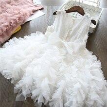 Белое кружевное платье принцессы для маленьких девочек пышные платья-пачки Детские свадебные вечерние платья платье-пачка для дня рождени...