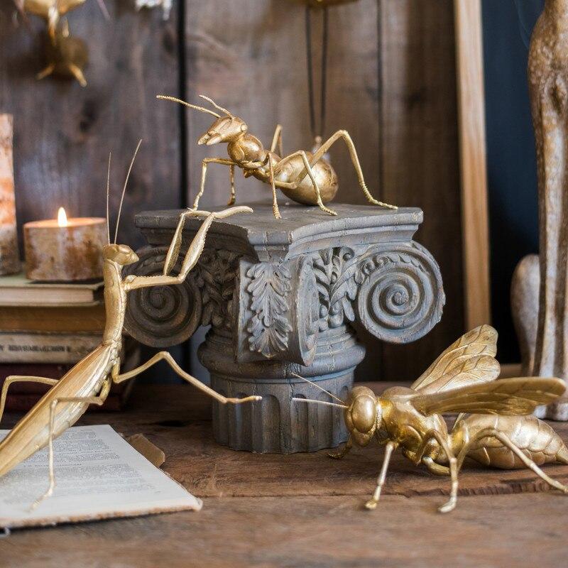 Насекомые декоративные изделия из смолы пчелиный мантис Ant Art Золотой неоклассический