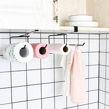 Nail-free paper towel rack for cabinet door disposable cloth rack/double row fresh-keeping film 23*10.5*9cm