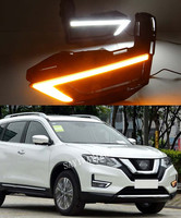 1Pair DRL For Nissan X Trail Xtrail X trail 2017 2018 Daytime Running Lights fog lamp cover 12V Daylight with yellow turn signal
