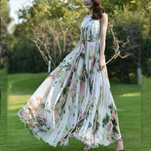 Summer Floral Long Chiffon Maxi Dress Gown Plus Sizes celebrity/graduation/Dinner Dress Beach Bridesmaid Sundress 3