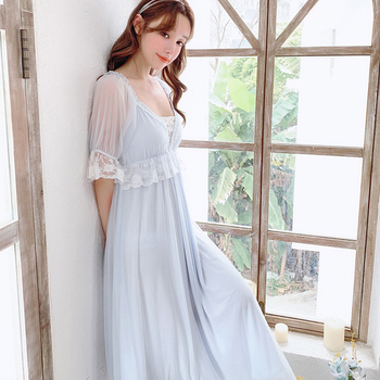 цена на Sexy lace V-neck princess long style vintage nightgowns gauze short flare sleeves modal summer sleeping dress for women