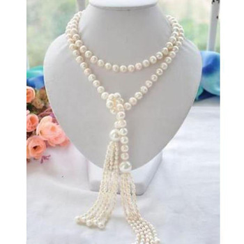 free shipping new Long PERFECT 7-8+11mm white akoya pearl necklace 60inch