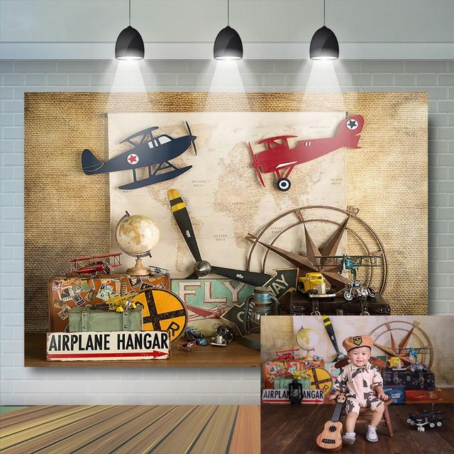 خلفية طائرة عيد الميلاد الأول للأولاد ، للتصوير الفوتوغرافي ، والطائرات ، وحديثي الولادة ، وخلفية صور الاستوديو