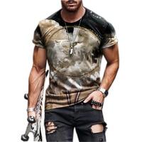 Camiseta con estampado Animal 3D para hombre, ropa de calle, chándal, camiseta de manga corta con cuello redondo, camiseta informal a la moda, S-3XL, novedad de 2021
