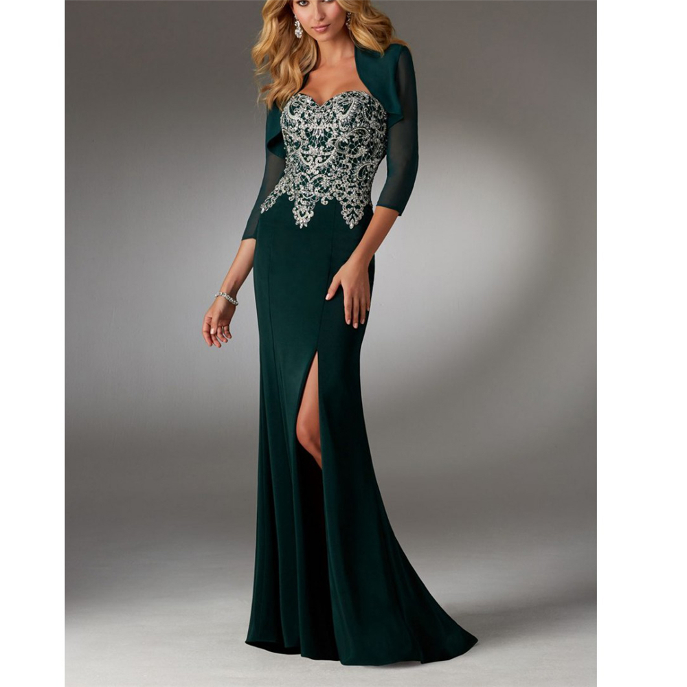 Excellent Green/Black Chiffon Embroidery Mother Of The Bride Dresses For Weddings Sheath Backless Front Splited Dinner Gown