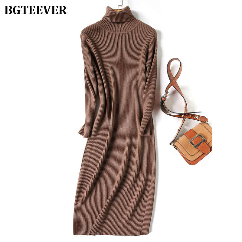 Осенне-зимнее плотное женское платье-свитер платье-водолазка с длинными рукавами трикотажные пуловеры Vestidos женское миди вязаное платье 2019