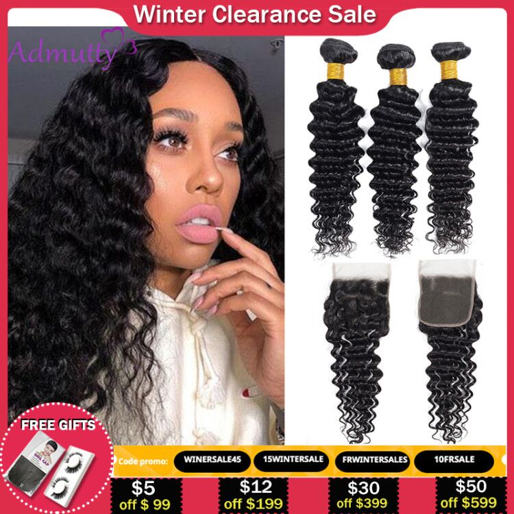 Deep Wave Bundles With Closure 4*4 Brazilian Hair Weave Bundles Human Hair Bundles With Closure Non Remy Hair Extensions Admutty