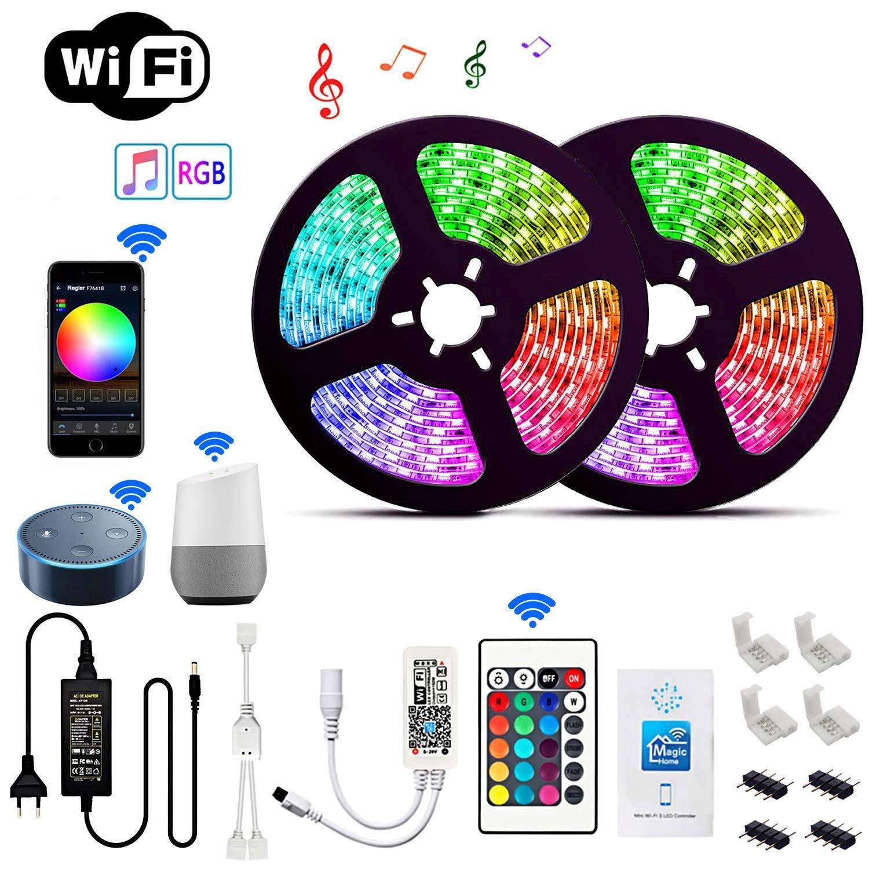 Tira de luces LED WiFi, RGB, impermeable, SMD 5050 2835 DC12V 5m 10m 15m RGB, diodo de cuerda Flexible, cinta WiFi, contactor + enchufe adaptador Controlador LED RGB para hogar mágico, controlador LED de cc 12V y 24V para tira de LED RGB de 5050, aplicación para teléfono iOS y Android, Control por voz de Alexa y Google