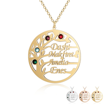 Customized 4 Birthstones Neckalce Tree Of Life Round Pendants Family Names Necklaces Gift For Mother Grandma