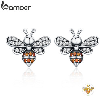 BAMOER High Quality 100% 925 Sterling Silver Bee Story Clear CZ Exquisite Stud Earrings for Women Fashion Silver Jewelry SCE344 bamoer 925 sterling silver daisy flower clear cz stud earrings for women sterling silver jewelry valentine s day gift sce419