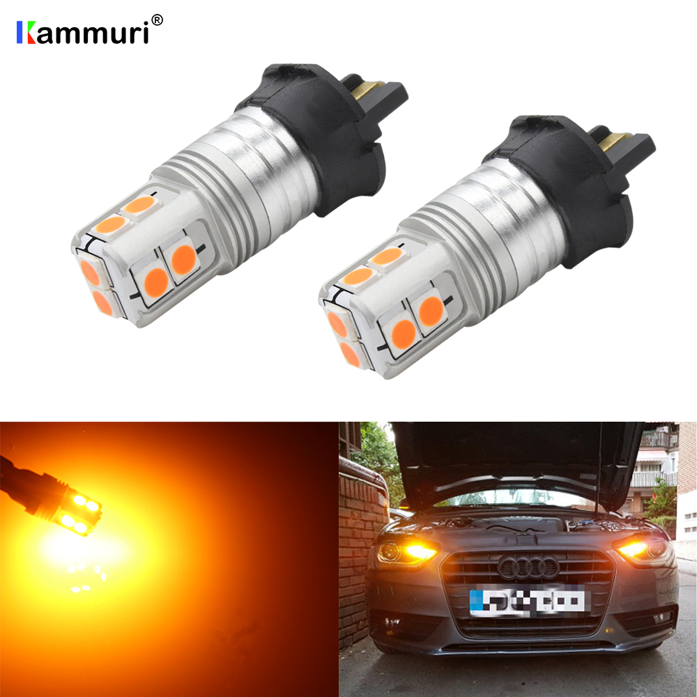 (2) Amber White Canbus PW24W <font><b>PWY24W</b></font> LED Bulbs For Audi A3 A4 A5 Q3 BMW F30 i3 VW MK7 Golf CC Fusion Front Turn Signal DRL Lights image