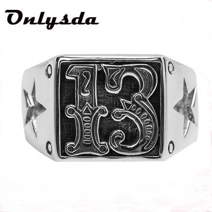 Мотор Байкер Lucky Number 13 кольцо из нержавеющей стали для мужчин и мальчиков Модное крутое мужское байкерское кольцо подарок OSR578