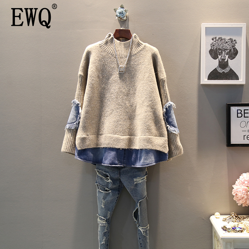[EWQ] 2020 Spring Autumn High Quality Turtleneck Collar Long Sleeve Fake Two Piece Denim Knittng Streetwear Sweater Women AH502