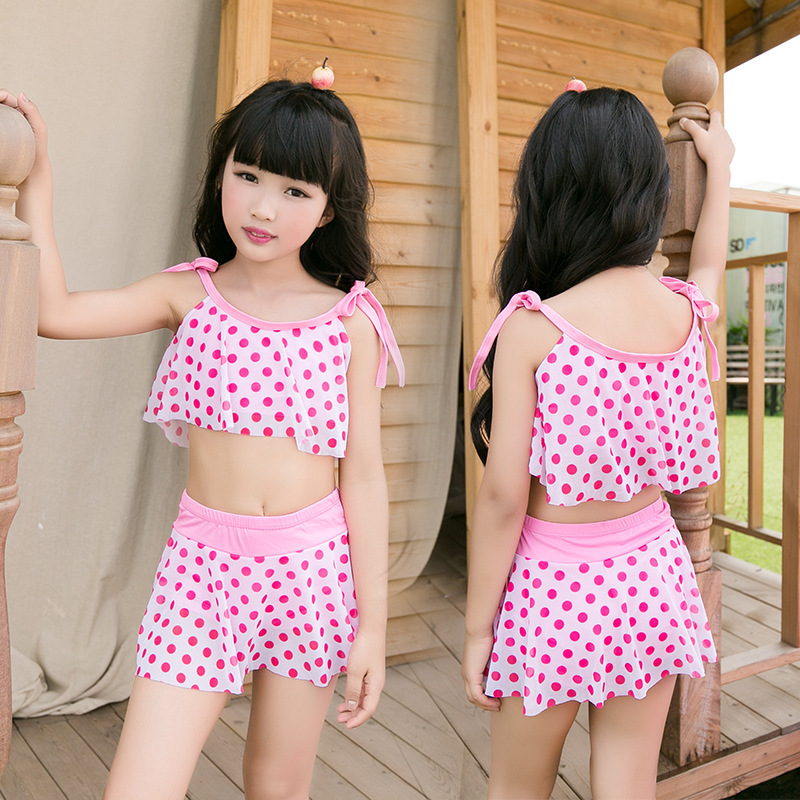 Summer Day Children Fresh Dotted Swimsuit Qmilch Fabric Swimsuit Girls Hot Springs Bathing Suit